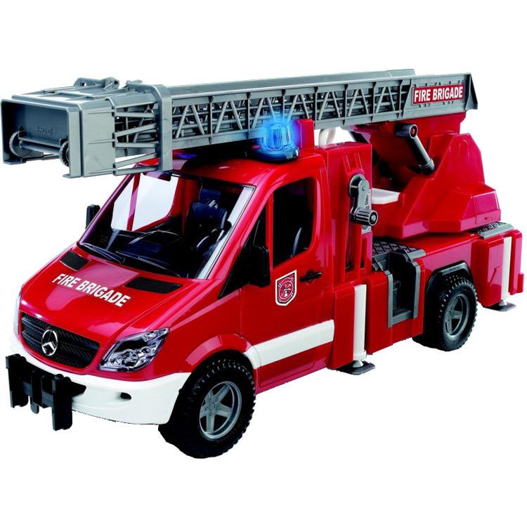 Image of Bruder - mb sprinter brandweer met autoladder, met licht en geluid