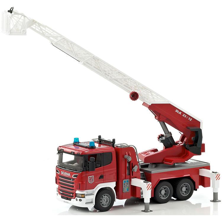 Image of Bruder - scania brandweer ladderwagen met pomp