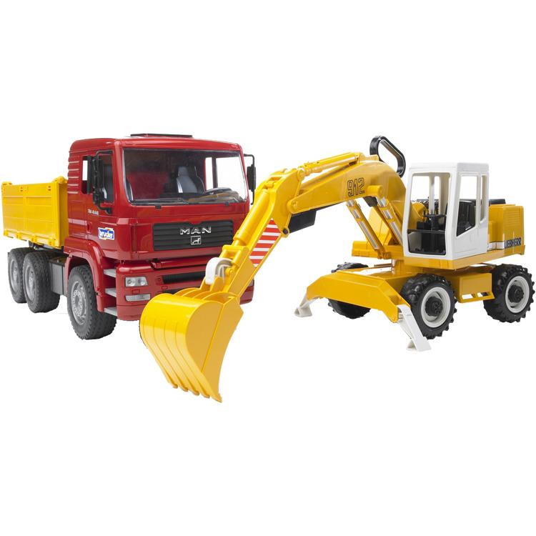 Image of BRUDER MAN TGA Construction truck with Liebherr Excavator