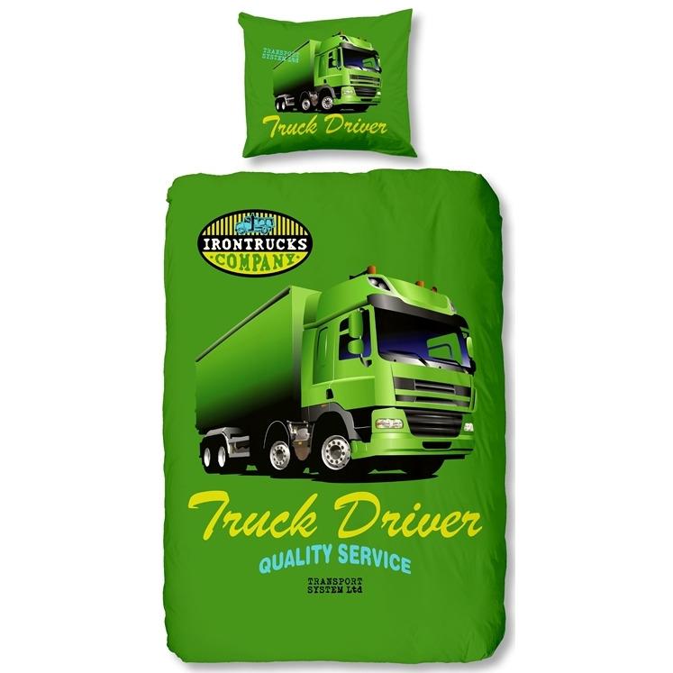Vrachtwagen dekbedovertrek - Groen - 1-persoons (140x200/220 cm + 1 sloop)