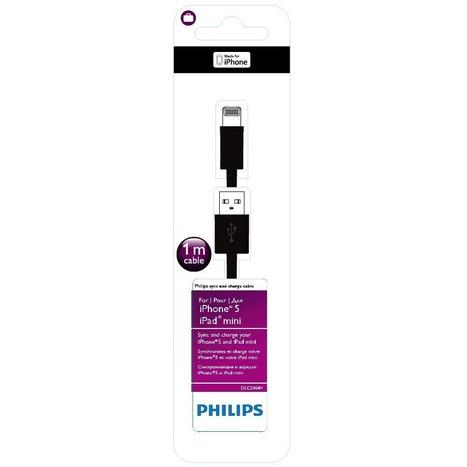 Philips DLC2404V/10 - Usb-kabel voor iPhone 5 - 1 meter / Zwart