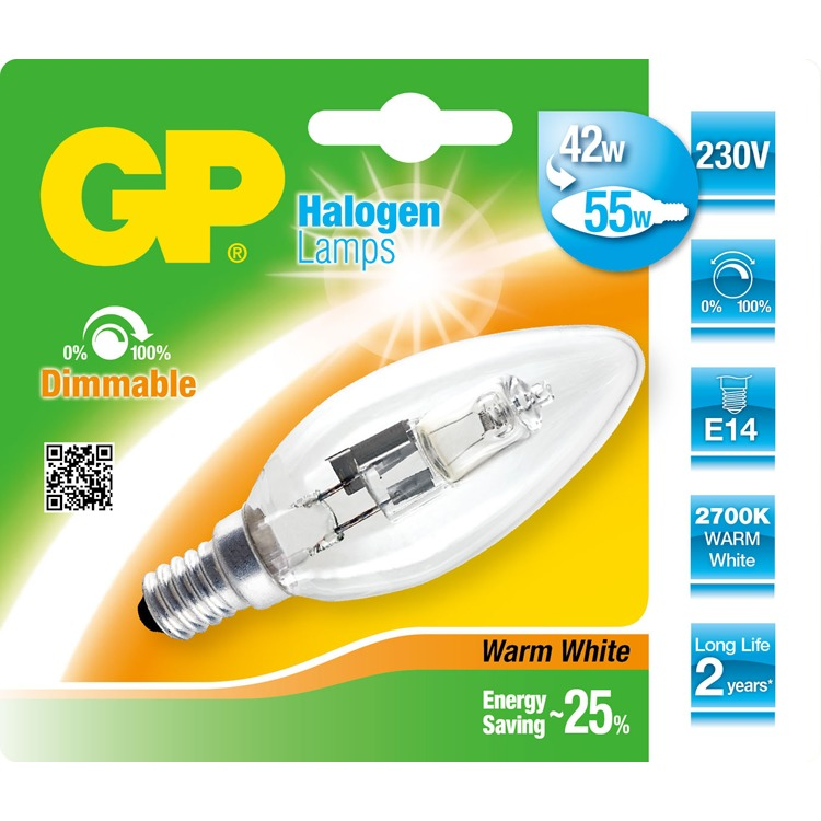 GP Lighting halogeen kaars E14 46W (60W) warmwit 630 lm