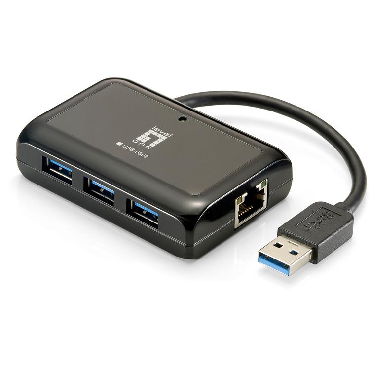 Levelone Adapter Usb3.0 Gbit-lan + Usb3.0-hub