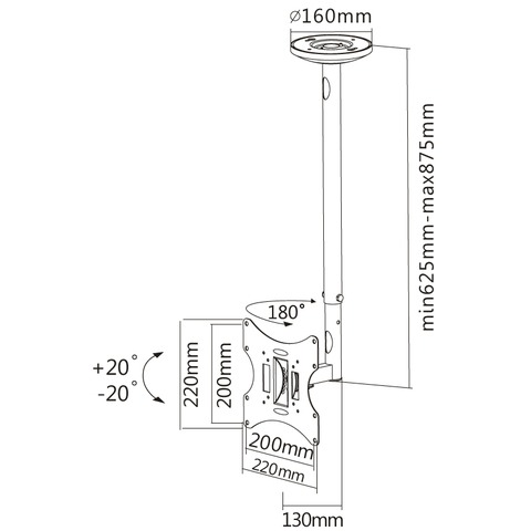 NewStar Flatscreen Ceiling Mount (Height: 60-85 cm)