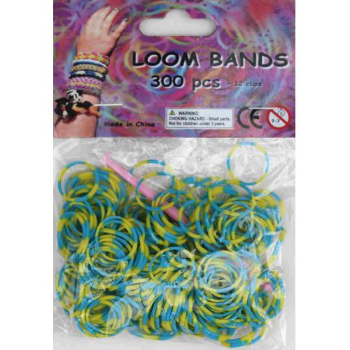 Bandjes Loom Bands 300 stuks: blauw en geel (37160)