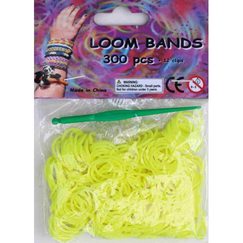Bandjes Loom Bands 300 stuks: neon geel (37117)