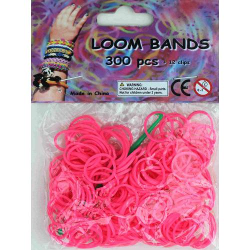 Bandjes Loom Bands 300 stuks: neon roze (37138)