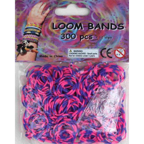Bandjes Loom Bands 300 stuks: paars en roze (37162)