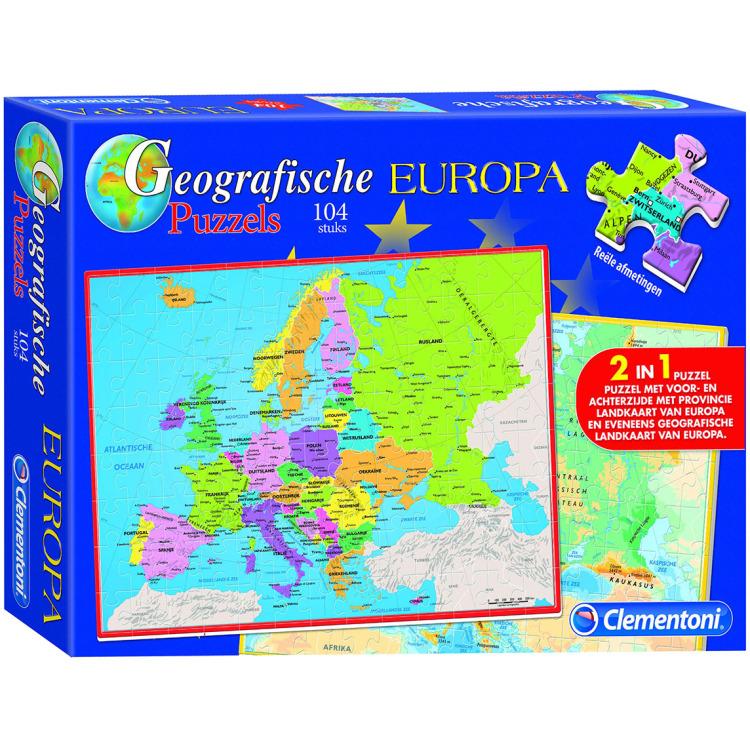 Image of Clementoni Topografische 2in1 Puzzel Europa 104 stukjes