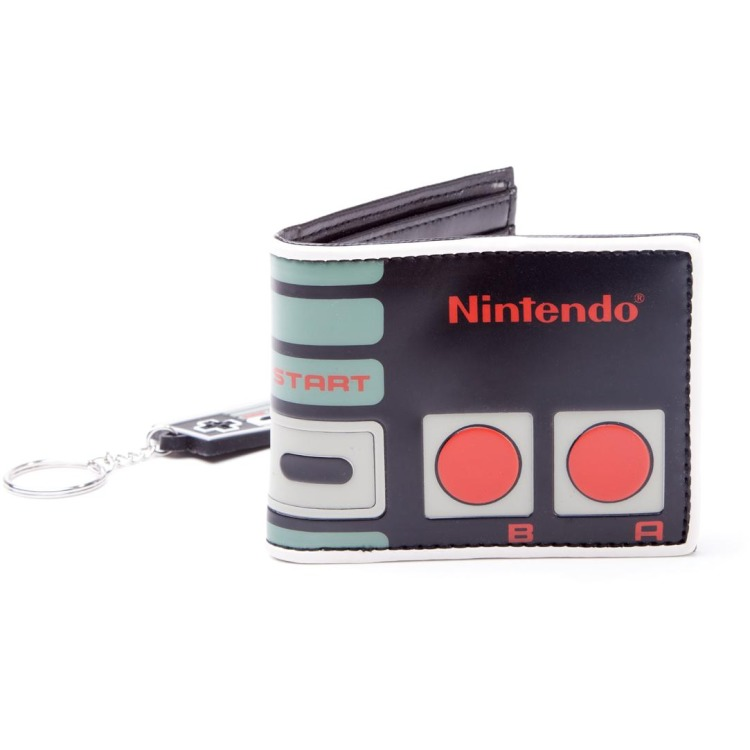 Nintendo Original NES Controller Bi-Fold Wallet and Rubber Keychain Gift Set
