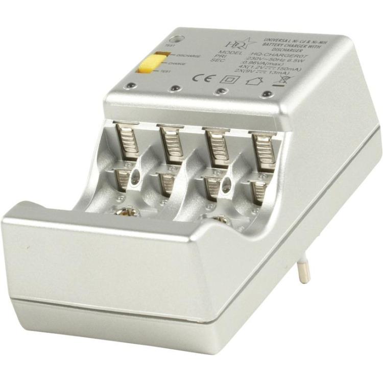 HQ, Plug-in Batterijlader voor het laden van AA/AAA/9 V Blok Batterijen