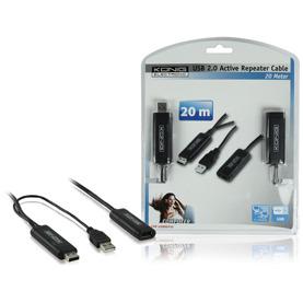 König, USB 2.0 Actieve Verlengkabel, 20m