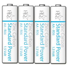 HQ, Standaard 1.5V AA Zink Koolstof Batterijen (4ST/BL)
