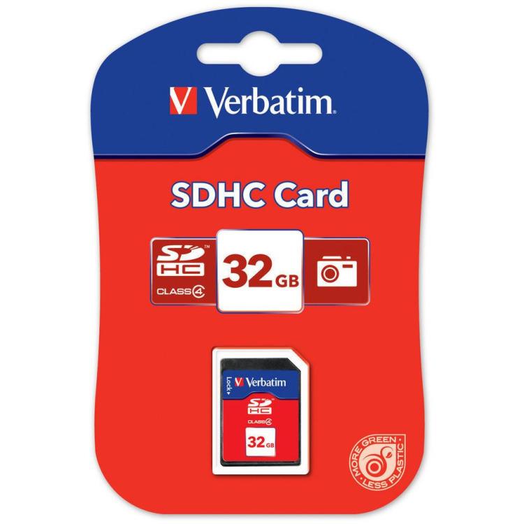 Verbatim, SECURE DIGITAL CARD 32GB c4 P-BLIST MIN. READ 4MB/SEC MIN. WRITE 4MB/SEC