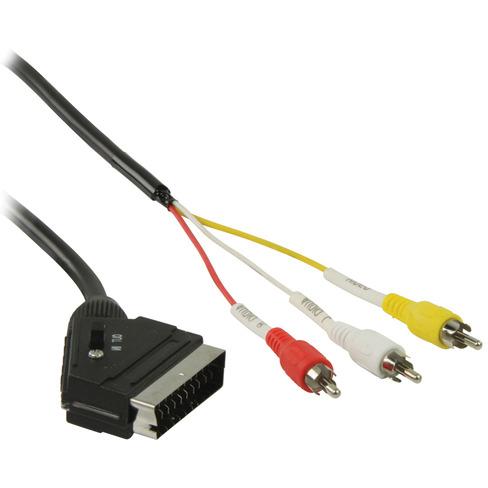 Schakelbare SCART RCA kabel SCART mannelijk 3x RCA mannelijk 1,00 m zwart