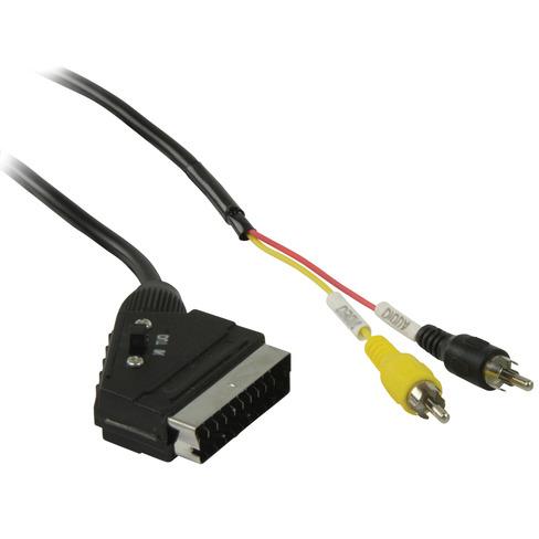 Schakelbare SCART RCA kabel SCART mannelijk 2x RCA mannelijk 2,00 m zwart