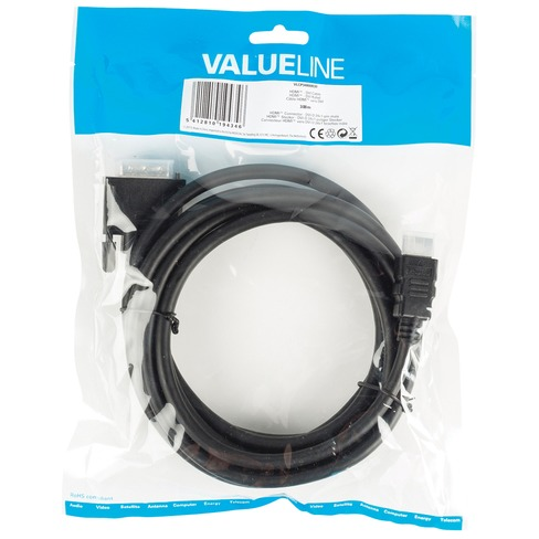 HDMI DVI kabel HDMI Connector DVI-D 24+1-pin male 3,00 m zwart
