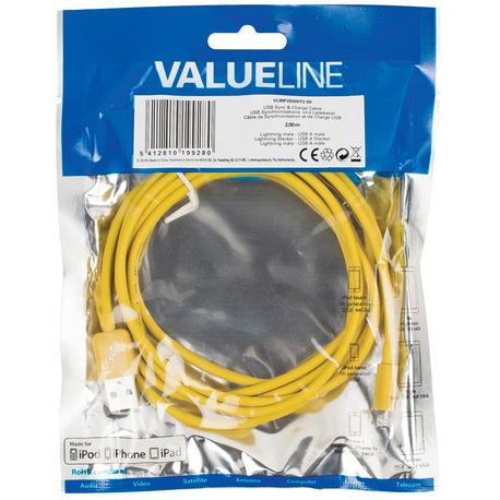 Valueline Vlmp39300y2.00 Usb Sync & Charge-kabel Lightning Mannelijk Usb A Mannelijk 2,00 M Geel