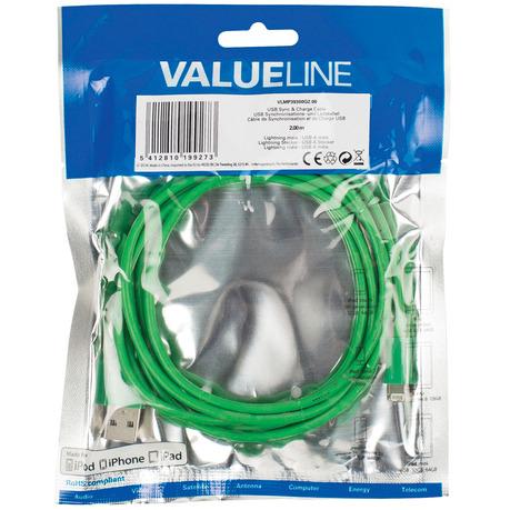 USB sync & charge-kabel lightning mannelijk USB A mannelijk 2,00 m groen