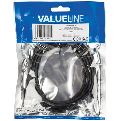 USB sync & charge-kabel lightning mannelijk USB A mannelijk 2,00 m zwart