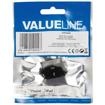 30-pins dock-adapter 30-pins dock mannelijk USB Micro B vrouwelijk zwart