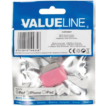 30-pins dock-adapter 30-pins dock mannelijk USB Micro B vrouwelijk roze
