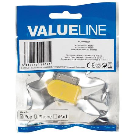 30-pins dock-adapter 30-pins dock mannelijk USB Micro B vrouwelijk geel