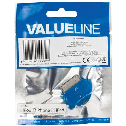 30-pins dock-adapter 30-pins dock mannelijk USB Micro B vrouwelijk blauw