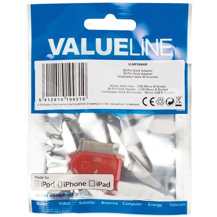 30-pins dock-adapter 30-pins dock mannelijk USB Micro B vrouwelijk rood