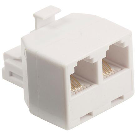Telecomsplitter RJ11 mannelijk 2x RJ11 vrouwelijk wit
