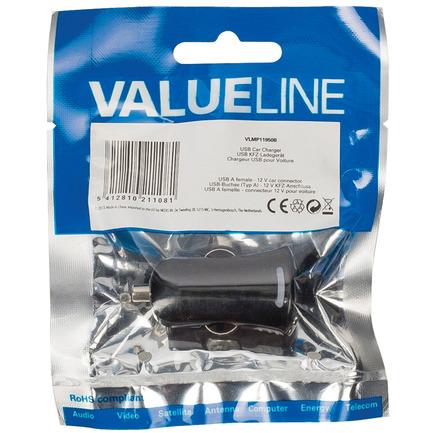 Valueline Usb-Autolader Usb A Female - 12V-Autoaansluiting Zwart
