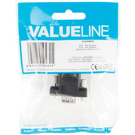 VGA DVI adapter VGA male DVI-I 24+5-pin female zwart