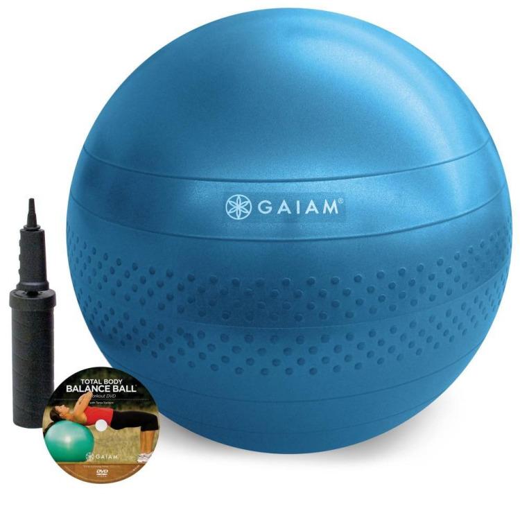 Gaiam Fitnessbal - Inclusief DVD - Large - Ø 75 cm - Blauw