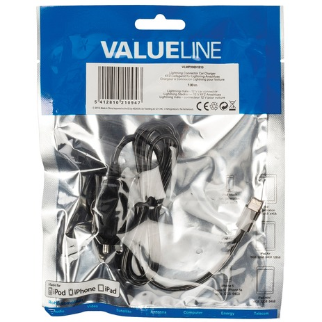 Valueline Lightning-Aansluiting Autolader Lightning Male - 12V-Autoaansluiting 1,00 M Zwart