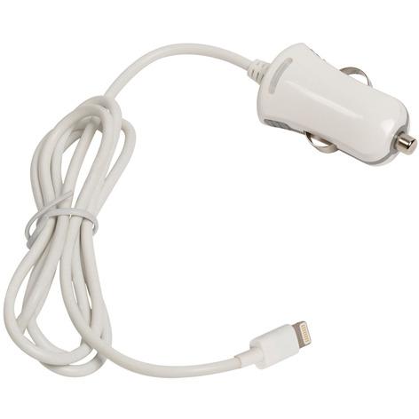 Lightning-aansluiting autolader lightning male 12V-autoaansluiting 1,00 m wit 2.4A