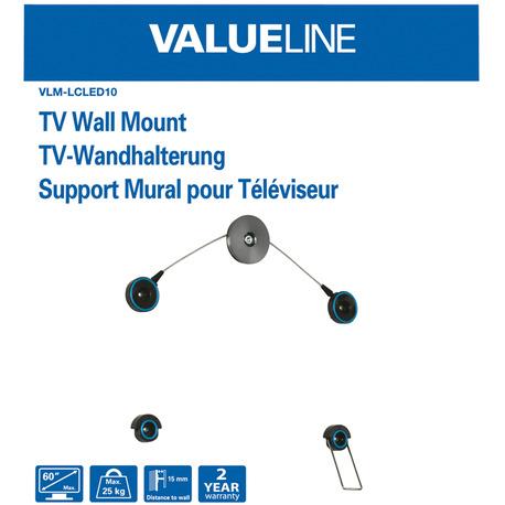 Valueline Tv-Muurbeugel Ultra Flat 42 - 60/107 - 152 Cm 25 Kg