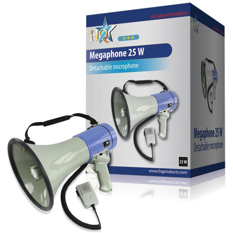HQ, 25 W Megafoon met Afneembare Microfoon