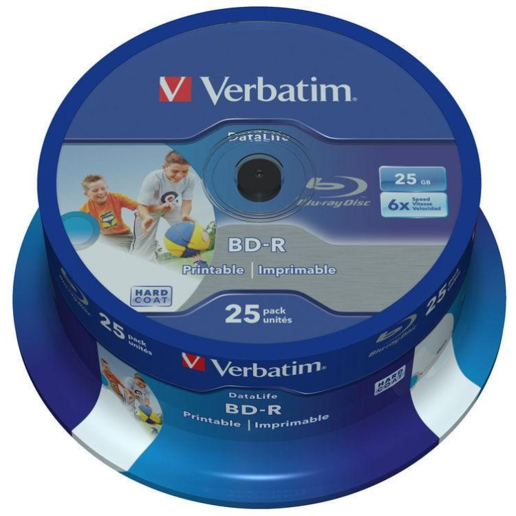 Image of 1x25 Verbatim BD-R Blu-Ray 25GB 6x Speed DL Wide Printable C