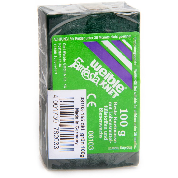 Fantasie klei blokvorm  100 g, donker groen