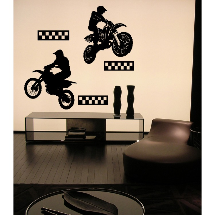 Muursticker velours motorcross