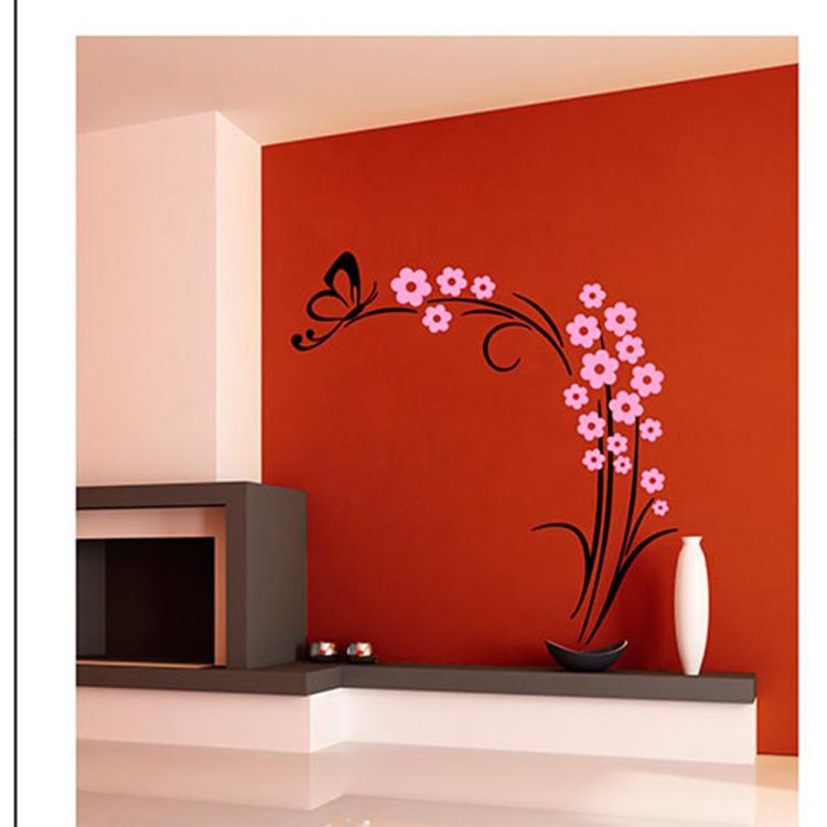 Image of Muursticker Vlinderplant Zwart/Roze