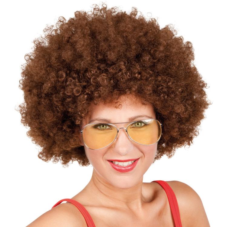 Pruik Afro bruin