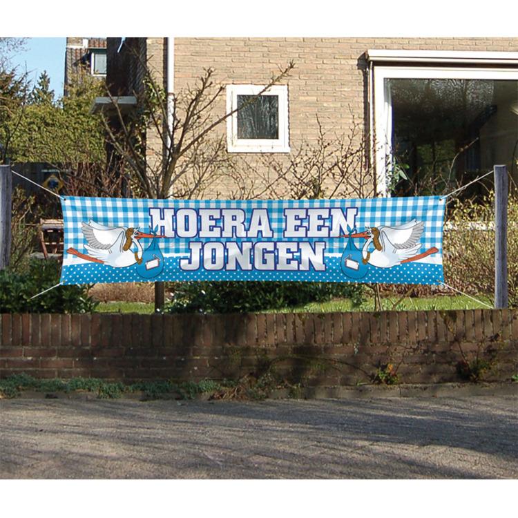 Image of Hoera Een Jongen Straatbanner, 180 X 40 Cm