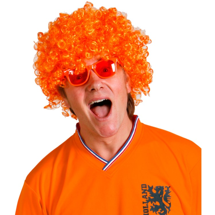 Pruik Krullen - Oranje