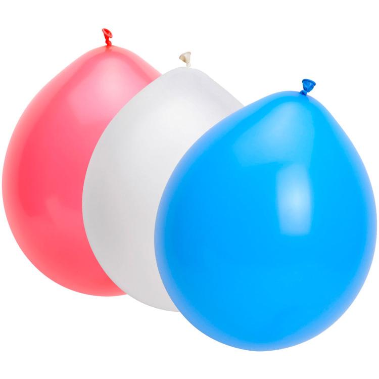 Ballonnen Rood, Wit, Blauw 25 Stuks