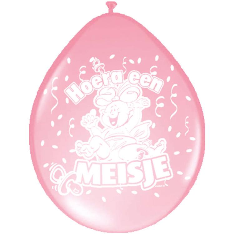 Image of Hoera Een Meisje Ballonnen, 8 Stuks