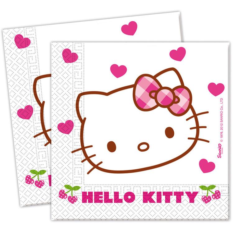 Servetten Hello Kitty 33x33 cm: 20 stuks -