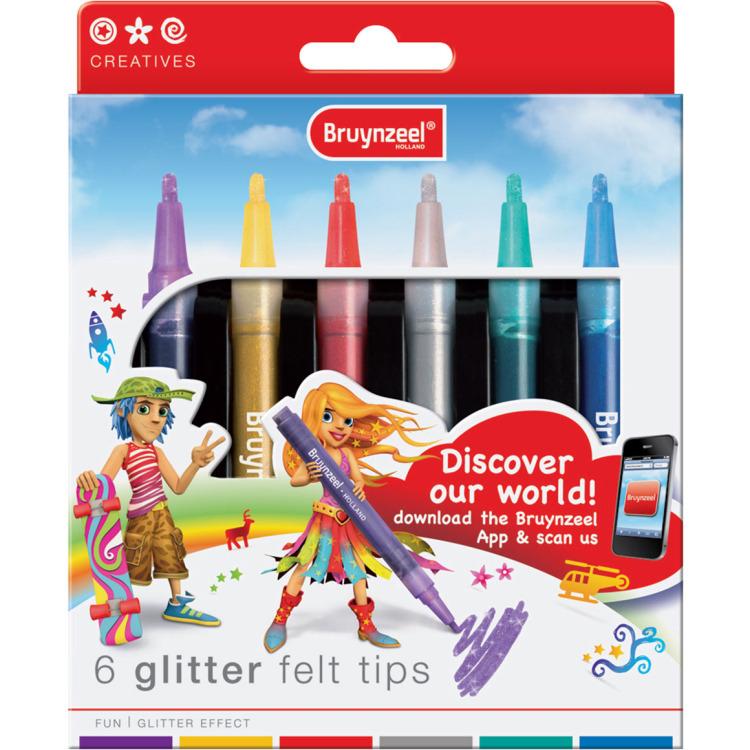 Image of Bruynzeel 6 Glitter felt tips