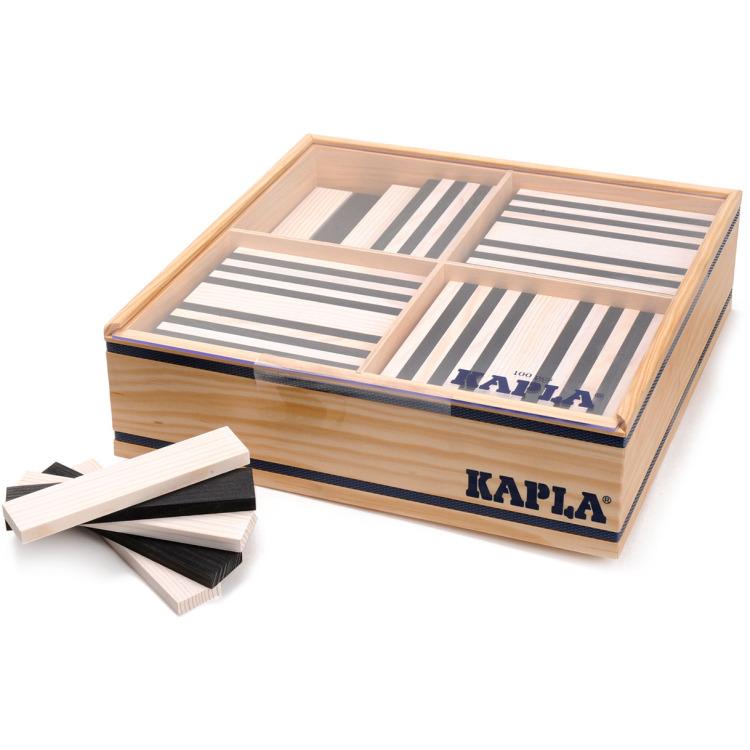 Image of Kapla: 100 stuks in kist zwart/wit