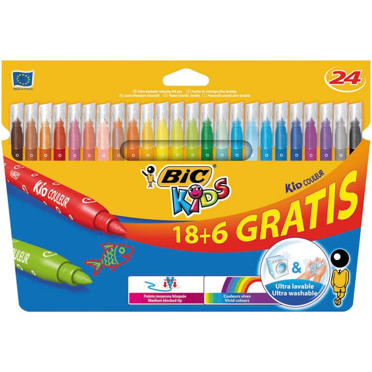 BIC Kids 18 + 6 uitwasbare stiften